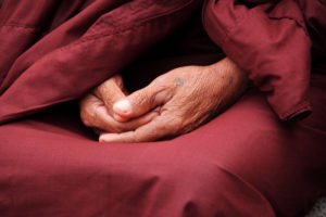 Mudra Dhyani : les deux pouces se rejoignent et viennent représenter l'âme universelle. Le réceptacle ainsi créé invite à la méditation sur la vacuité. Ce mudra permet la dissolution des illusions.